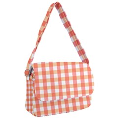 Gingham Duo Red On Orange Courier Bag by retrotoomoderndesigns