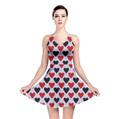 Red & White Hearts  Lilac Blue Reversible Skater Dress