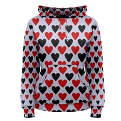 Red & White Hearts  Lilac Blue Women s Pullover Hoodie