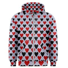 Red & White Hearts  Lilac Blue Men s Zipper Hoodie