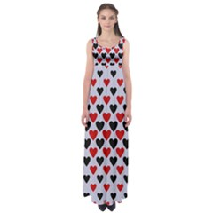 Red & White Hearts  Lilac Blue Empire Waist Maxi Dress