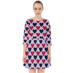 Red & White Hearts  Lilac Blue Smock Dress