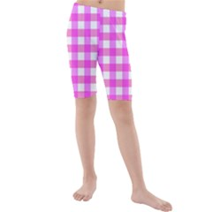 Gingham Duo Fuschia On Pink Kids  Mid Length Swim Shorts