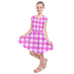 Gingham Duo Fuschia On Pink Kids  Short Sleeve Dress by retrotoomoderndesigns