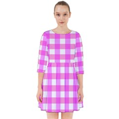 Gingham Duo Fuschia On Pink Smock Dress by retrotoomoderndesigns