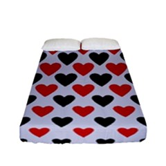 Red & White Hearts- Lilac Blue Fitted Sheet (full/ Double Size) by WensdaiAmbrose