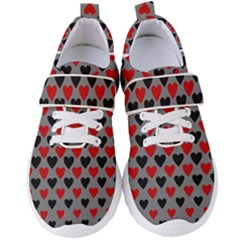 Red & Black Hearts   Grey Women s Velcro Strap Shoes by WensdaiAmbrose
