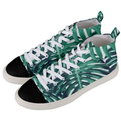 Green Monstera Leaves Men s Mid Top Canvas Sneakers by goljakoff