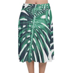 Green Monstera Leaves Velvet Flared Midi Skirt by goljakoff