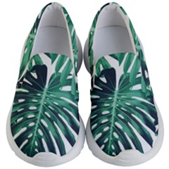 Green Monstera Leaves Kids  Lightweight Slip Ons by goljakoff