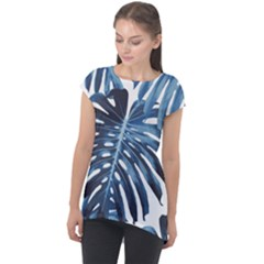 Blue Monstera Leaves Cap Sleeve High Low Top by goljakoff