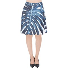 Blue Monstera Leaves Velvet High Waist Skirt by goljakoff