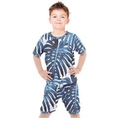 Blue Monstera Leaves Kids  Tee And Shorts Set by goljakoff