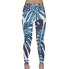 Blue Monstera Leaves Lightweight Velour Classic Yoga Leggings by goljakoff