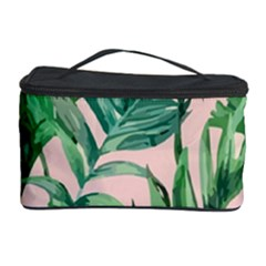 Green Tropical Leaves On Pink Ink Cosmetic Storage by goljakoff