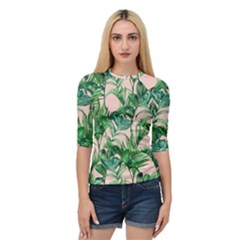 Green Tropical Leaves On Pink Ink Quarter Sleeve Raglan Tee by goljakoff