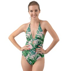 Green Tropical Leaves On Pink Ink Halter Cut Out One Piece Swimsuit by goljakoff