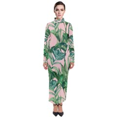 Green Tropical Leaves On Pink Ink Turtleneck Maxi Dress by goljakoff