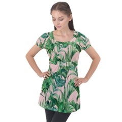 Green Tropical Leaves On Pink Ink Puff Sleeve Tunic Top by goljakoff