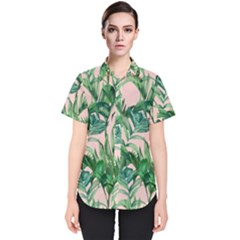 Green Tropical Leaves On Pink Ink Women s Short Sleeve Shirt by goljakoff
