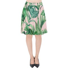 Green Tropical Leaves On Pink Ink Velvet High Waist Skirt by goljakoff