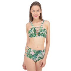 Green Tropical Leaves On Pink Ink Cage Up Bikini Set by goljakoff