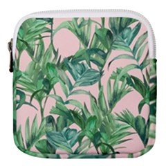 Green Tropical Leaves On Pink Ink Mini Square Pouch by goljakoff