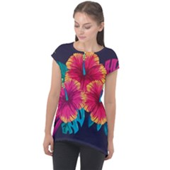 Neon Flowers Cap Sleeve High Low Top by goljakoff