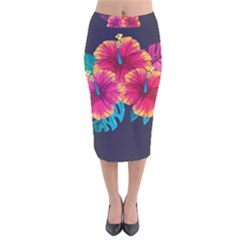 Neon Flowers Velvet Midi Pencil Skirt by goljakoff