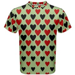 Red & Black Hearts   Olive Men s Cotton Tee