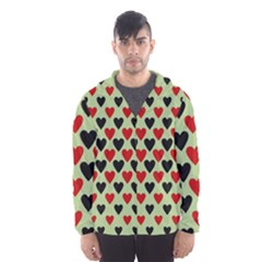 Red & Black Hearts   Olive Hooded Windbreaker (men)