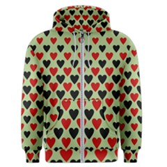 Red & Black Hearts   Olive Men s Zipper Hoodie