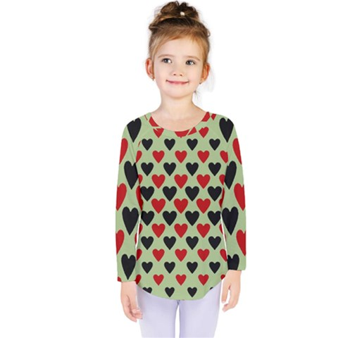 Red & Black Hearts   Olive Kids  Long Sleeve Tee by WensdaiAmbrose