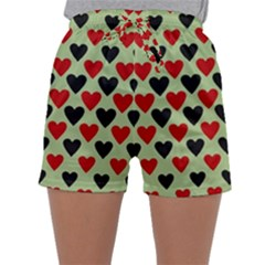 Red & Black Hearts   Olive Sleepwear Shorts
