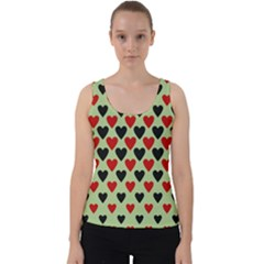 Red & Black Hearts   Olive Velvet Tank Top