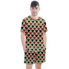 Red & Black Hearts   Olive Men s Mesh Tee And Shorts Set