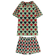 Red & Black Hearts   Olive Kids  Swim Tee And Shorts Set by WensdaiAddamns