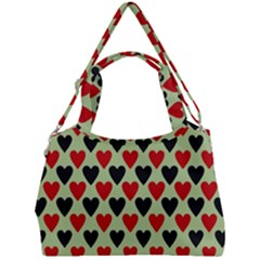 Red & Black Hearts   Olive Double Compartment Shoulder Bag by WensdaiAddamns