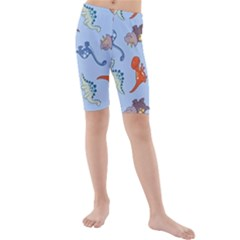 Dinosaurs   Baby Blue Kids  Mid Length Swim Shorts by WensdaiAddamns