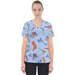 Dinosaurs   Baby Blue Women s V Neck Scrub Top