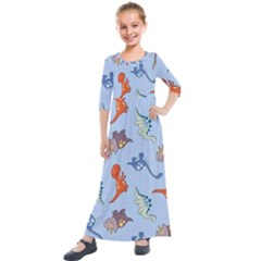 Dinosaurs - Baby Blue Kids  Quarter Sleeve Maxi Dress