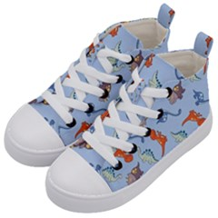 Dinosaurs   Baby Blue Kids  Mid Top Canvas Sneakers by WensdaiAddamns