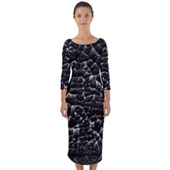 Black And White Grunge Cracked Abstract Print Quarter Sleeve Midi Bodycon Dress by dflcprintsclothing