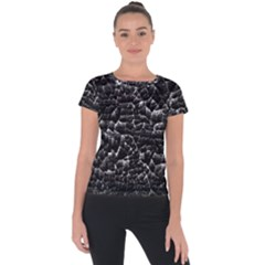Black And White Grunge Cracked Abstract Print Short Sleeve Sports Top  by dflcprintsclothing