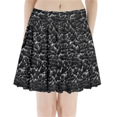 Black And White Grunge Cracked Abstract Print Pleated Mini Skirt by dflcprintsclothing