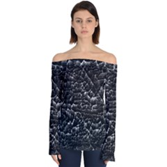 Black And White Grunge Cracked Abstract Print Off Shoulder Long Sleeve Top by dflcprintsclothing