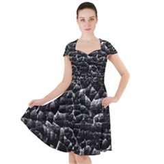 Black And White Grunge Cracked Abstract Print Cap Sleeve Midi Dress by dflcprintsclothing