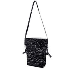 Black And White Grunge Cracked Abstract Print Folding Shoulder Bag by dflcprintsclothing