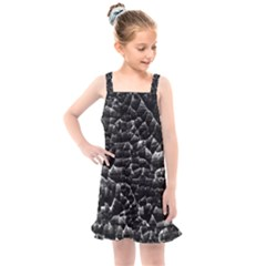 Black And White Grunge Cracked Abstract Print Kids  Overall Dress by dflcprintsclothing