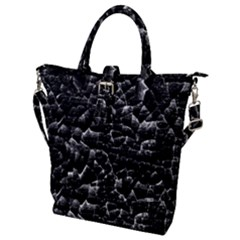 Black And White Grunge Cracked Abstract Print Buckle Top Tote Bag by dflcprintsclothing